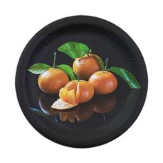Tangerines On A Black Background Paper Plate