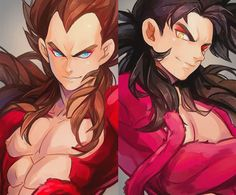 One word : GORGEOUS! Super Saiyan 4 Goku and Vegeta. Credits goes to artist. I do not own this. Too awesome to be my art X'3 #SSJ4 #Vegeta #Goku