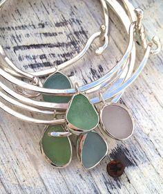 Sea Glass Bangle Bracelet with Bezel Sea Glass by MermaidCharms