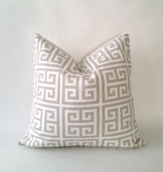 18x18 Twill Towers Greek Key Decorative Pillow Cover - Tan and White - Medium Weight Cotton- Invisible Zipper Closure. $20.00, via Etsy.