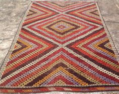 Embroidered area rug 109'' x 74 muted color Kilim by PocoVintage