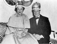 The Duke & Duchess of Windsor don paper crowns at a New Year's Eve party.   The photographer agreed that he would not release the picture during their lifetimes.
