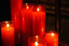 Prayer Candles at a Catholic Cathedral in Barcelona, Spain