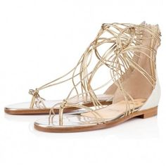 7c8348fd951a Christian Louboutin blanca flat Light Gold Ivory Glitter Womens Christian  Louboutin Shoes