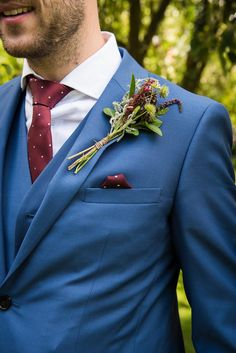 Claret Burgundy Buttonhole Groom Pretty White Summer Informal Wedding http://www.jessicagracephotography.com/