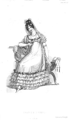 Evening Dress from from Ackermann's Repository of the Arts October 1819