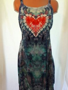 Ice Dyed Flirty Rayon Spaghetti Strap Dress With Heart Size Large