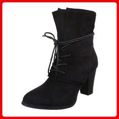 Komfort Stiefeletten Damen-Schuhe Schlupfstiefel Warm Gefütterte Reißverschluss Ital-Design Stiefeletten Schwarz, Gr 36, Ka-732P- - Stiefel für frauen (*Partner-Link)