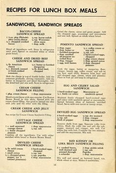 How to Pack Lunch Boxes for War Workers, 1943 Vintage Recipes for sandwiches and sandwich fillings - some show promise for apps or snacks Retro Recipes, Old Recipes, Vintage Recipes, Cookbook Recipes, Cooking Recipes, Homemade Cookbook, Cookbook Ideas, Low Sugar Recipes, Cooking Bacon