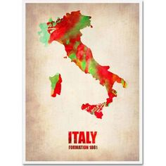 Trademark Fine Art Italy Watercolor Map Canvas Art by Naxart, Size: 35 x 47, Multicolor