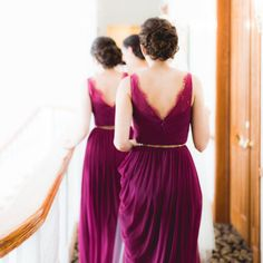Wine-colored bridesmaid dresses by BHLDN