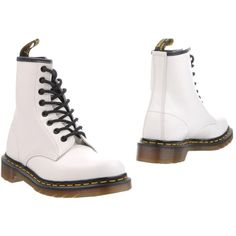 Dr. Martens Ankle Boots (7.675 RUB) ❤ liked on Polyvore featuring shoes, boots, ankle booties, white, white ankle boots, combat booties, leather ankle bootie, military boots and white combat boots