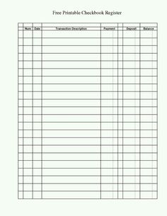 bank ledger printable