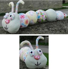 Snug as a Bug Caterpillar Free Pattern, add handles to each side of caterpillar for walking rope.