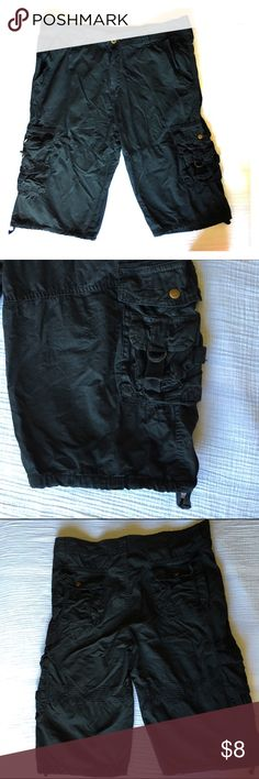 MENS.... Black Cargo Shorts Worn only once! MENS Size 34 Black Cargo Shorts bought on Amazon just 2 weeks ago for $28 my husband likes them but we're a little to big he normally wears 33. There is no tag for name brand as they are from China I guess but will sell for cheap. The inseam is 15 inch No Tag Shorts Cargos