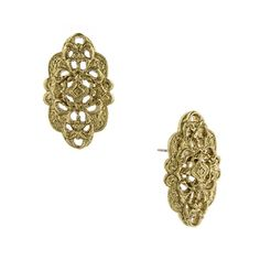 Vintage romance. These antique-inspired button earrings feature an enchanting Art Nouveau filigree motif that relishes in the opulence and grandeur reminiscent of that romantic era. The tantalizing textures and delicate detail crafted into every inch of this bracelet will make it a favorite for years to come. Created for our Signature 1928 Collection.