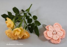Pink Cotton Crochet Flowers Metal Hair Clip by GabrielasGarden