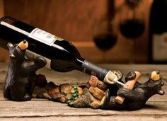 New Bearfoots Bear Jeff Fleming Big Sky Carvers Cork Pullers Wine Bottle Holder | eBay