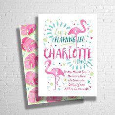 Flamingo Birthday Invitation, Tropical Birthday Invitation,  Pool Birthday Party, Beach Party, Luau Birthday Invite - Digital File JPEG by ohbejoyfulshop on Etsy https://www.etsy.com/listing/265324645/flamingo-birthday-invitation-tropical