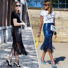 A blogueira e it-girl Helena Bordon é mestre em como ficar elegante suando saia midi de franjas.