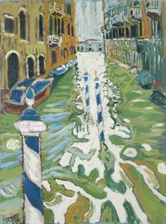 John Bratby (British, 1928-1992), From a Gondola, Venice. Oil on canvas, 48 x 36 in.