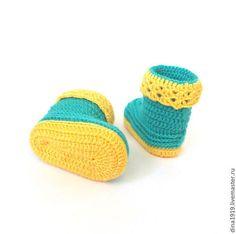 Детская обувь ручной работы. Ярмарка Мастеров - ручная работа пинетки для  девочки, зеленый, желтый (0-4 мес). Handmade.