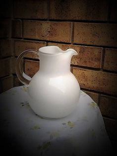 Vintage Hand made White cased Glass Jug - Great for a Wedding