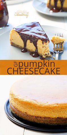Dress up your holiday table with this smooth, rich gluten free pumpkin cheesecake. It's made with pumpkin puree and pumpkin pie spice, a pumpkin cookie crust, and covered in rich chocolate.
