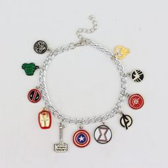 Marvel The Avengers 11 Charm Superhero Lobster Clasp Jewelry Bracelet - Multi