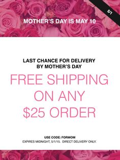 May 1 Only! Get Free shipping on any order over $25 at my eStore in time for Mother's Day with code: FORMOM. #AvonRep
