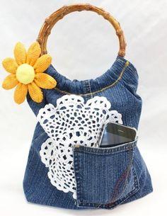Crochet Doily + Recycled Denim Purse - Free DIY