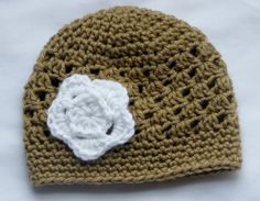 Tan Shell Cloche with White Flower pick your by KuddleBugzThreadz