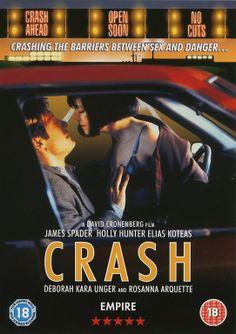 DVD cover of Crash, an adaptation of J.G. Ballard's novel directed by David Cronenberg, 1996. Photograph of James Spader and Holly Hunter: Jonathan Wenk