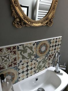 Cloakroom toilet downstairs loo - Marmite tiles Walls in F&B Worsted F&B Farrow & Ball Tiny room bold colour ) Cloakroom Toilet Downstairs Loo, Bathroom Under Stairs, Small Wc Ideas Downstairs Loo, Tiny Bathrooms, Small Bathroom, Understairs Toilet, Dressing Design, Small Toilet Room, Bathroom Wallpaper