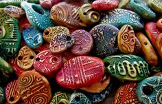 Set of 10 Colorful Polymer Clay Random Assorted Components beads earrings buttons pendants rustic boho gypsy free spirit jewelry supplies handcrafted unique jewelry by SpontaneousSoul on Etsy