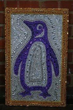 mardi gras beaded penguin art by desertjuan on Etsy, $150.00
