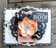 "It's EASY to make Vintage HALLOWEEN cards with Authentique ""Spirited"" paper and Petaloo Botanica Mixed Blooms!  They are soooo pretty and perfect for a party invitation too!  DIY CARDS don't get any easier than this..."