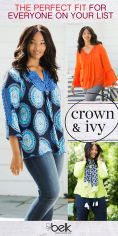 Mix it up with the new Crown & Ivy plus collection. Bright prints and patterns make sweaters, pretty peasant tops and decorative tees pop. Accessorize with a printed scarf. Layer your look with a new coat or puffer vest to create your own unique look. Find everything you need for a festive look in styles and sizes perfectly fit for you. Shop the new Crown & Ivy Plus collection in-store or online at belk.com.