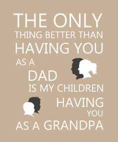 Gift for Him. Personalised Grandfather, daughter and grandchildren cameo silhouette with word art 'The only thing better than having you as a Dad is my children having you as a Grandpa'. Available from www.portraitprofiles.co.uk - using your own photos #giftsforhim #fathersday #grandfathergifts