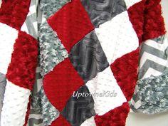 Minky Blanket Patchwork Quilt Ohio State  OSU Red by uptownekids
