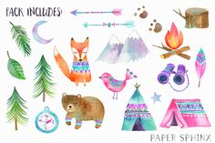 Woodland Adventure Watercolor Pack by PaperSphinx on @creativemarket