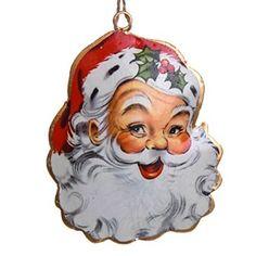 Metal Santa Face Ornament http://shop.crackerbarrel.com/Metal-Santa-Face-Ornament/dp/B0127HPLOS
