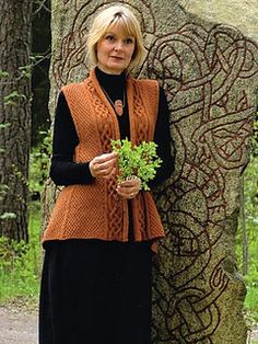 Inggun by Elsebeth Lavold   Book Eighteen: The Third Viking Knits Collection. Versatile, wearable, moss stitch vest with lots of striking technical details and rather unusual construction.