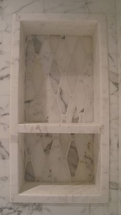 Shower niche from white marble Bathroom Niche, Shower Niche, Laundry In Bathroom, Master Bathroom, Shower Bathroom, Master Shower, Bathroom Shelves, Dream Bathrooms, Beautiful Bathrooms