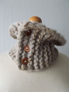 Super Chunky Cowl Neck Warmer with Wooden Buttons in by LaimaShop, $32.00