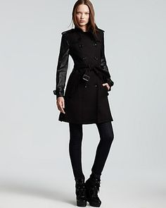 Burberry  Brit Yarrowfield Leather Sleeve Double Breasted Trench Coat - Lyst