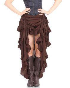 Ladies Steampunk Ruffle Full Length Burlesque Skirt. Victorian Bustle Skirt for Women Gather Dress