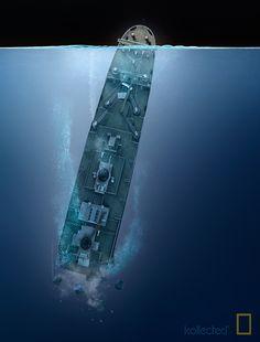 Titanic Drawing, Titanic Art, Titanic Sinking, Titanic Ship, Titanic History, Rms Titanic, Titanic Wreck, Underwater Shipwreck, Hms Hood