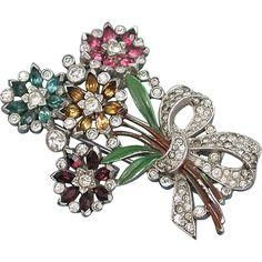 Signed Crown Trifari Rhinestone and Enamel Floral Bouquet Fur Clip