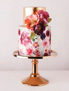 Copper Wedding Cake: Hello, gorgeous. This copper foil-topped cake may be too pretty to eat. We're not sure that will stop us.